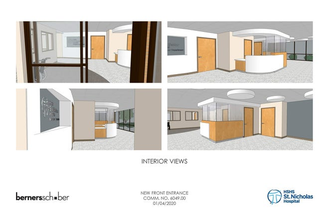 Renderings of the entrances and lobby to be remodeled at St. Nicholas Hospital in Sheboygan.