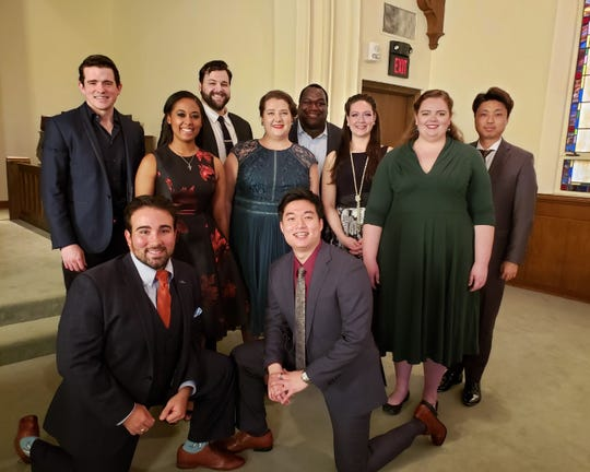 The finalists of the 2019 Mary Jacobs Smith Singer of the Year Competition, a national event that is hosted by Shreveport Opera annually in Shreveport. Pictured (left to right): Front row- Anthony Ciaramitaro, tenor, and Duke Kim, tenor (Winner of Singer of the Year) Middle row-Flora Wall, soprano (and SOX artist) Felicia Moore, soprano, Chelsea Miller, soprano, and Leia Lensing, contralto. Back row- Emmett O'Hanlon, baritone, Brandon Russell, tenor, Reginald Smith Jr., baritone, and WooYoung Yoon, tenor.