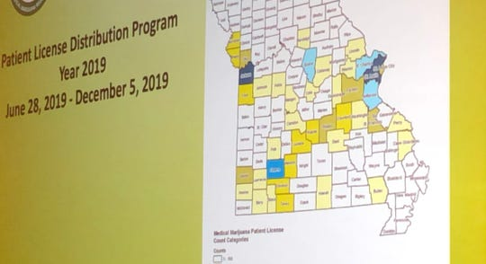 A map of Missouri shows the concentrations of medical cannabis patients in each of Missouri's counties. St. Louis County and the Kansas City areas have the greatest patient counts, followed by the Springfield area. The map was presented by medical marijuana director Lyndall Fraker on Monday, March 2, 2020 at a trade conference in St. Louis.