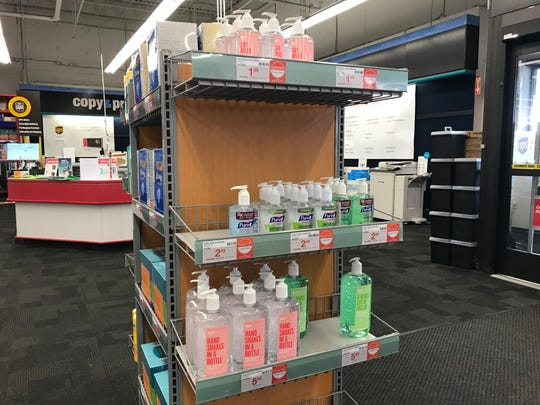 Staples in Staunton stock shelves near entrance with hand sanitizers. Photograph taken on Monday, March 2, 2020.