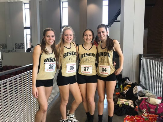 Buffalo Gap's Kaley Kiracofe, Annika Fisher, Olivia Kovesi, and Tara Cahill teamed up to win the 4x400 relay event at the Class 1A/2A state indoor track meet at Roanoke College.
