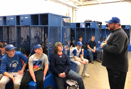 On Wednesday, February 26, right before informing players if they made the baseball team or not, Fort coach Damian Fink talks to all of them in the locker room.