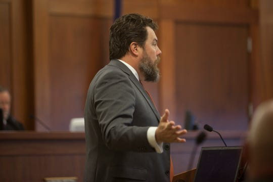 Defense attorney Trevor Terry addresses the jury during opening statements in the trial of Bronson Flynn, who is accused of shooting and killing a man at a St. George bar Monday, March 2, 2020.