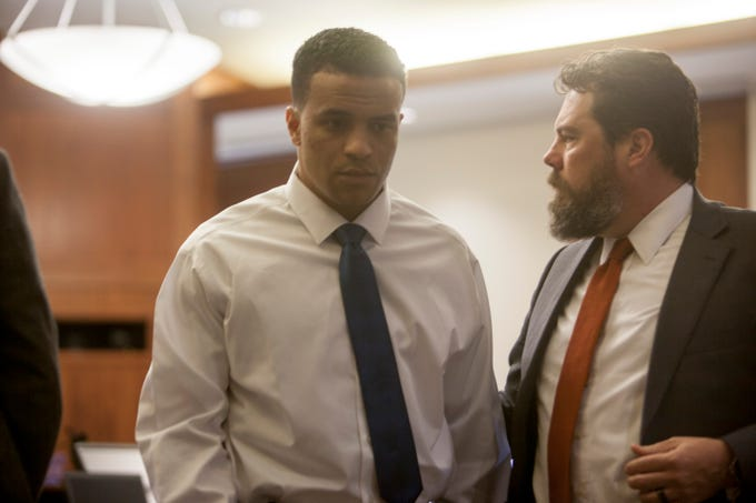 Bronson Flynn during his trial Monday, March 2, 2020. Among other charges, Flynn is accused of shooting and killing a man at a St. George bar.
