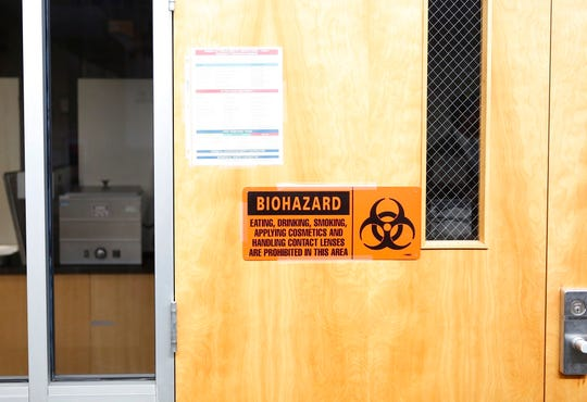 A door entrance of a laboratory where potential cases of the coronavirus will be tested at the Florida Department of Health Laboratory in Tampa, Florida on March 2, 2020.