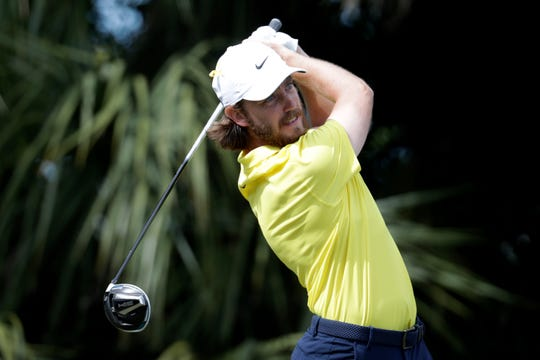 Tommy Fleetwood of England hits from the third tee during the fourth round of the Honda Classic golf tournament, Sunday, March 1, 2020, in Palm Beach Gardens, Fla.