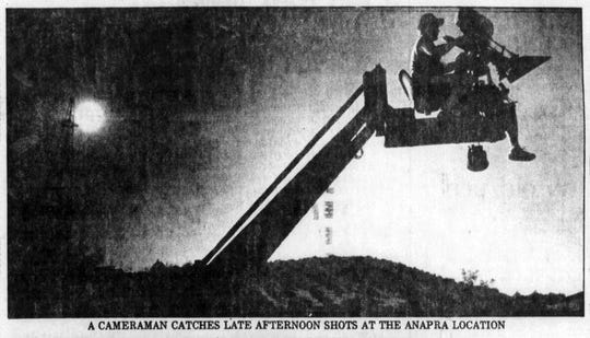 "June 28, 1982: A cameraman catches late afternoon shots at the Anapra location for the filming of ""Lone Wolf McQuade."""