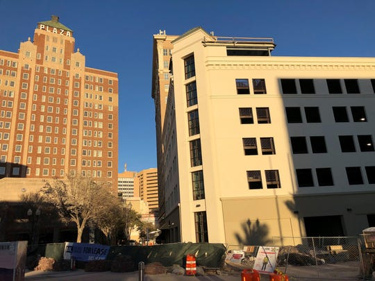 This 541-space parking garage, which is nearing completion, is part of the renovation of the Plaza Hotel Pioneer Park, which is scheduled to open in April.
