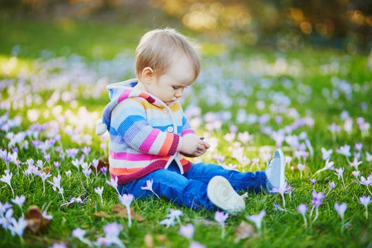Baby girl sitting on the grass with blue hyacinths.