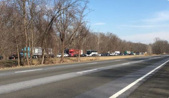 Southbound traffic on Interstate 684 is backed up because of a crash south of Exit 3 for Armonk and Bedford, Monday, March 2, 2020. Two lanes were blocked