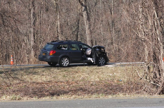 A car was wrecked when a driver crashed into a state Department of Transportation truck on Interstate 684 in Armonk on March 2, 2020.