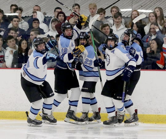 Suffern celebrates a goal against Eastchester/Tuckahoe/Bronxville/Edgemont during the Section 1 Division 1 hockey championship at the Brewster Ice Arena March 1, 2020. Suffern defeated ETBE 5-1.