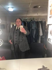 """Jason Berger backstage at OperaDelaware, dressed for his role in """"Trial by Jury"""" last year."""