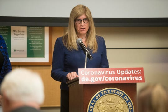 Director of the Division of Public Health Dr. Karyl Rattay speaks during a press conference on the state's response to coronavirus Monday at Christiana Care.