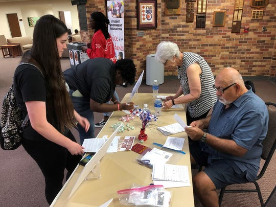 Kay Holland, president of the League of Women Voters of Wichita Falls, second from right, helped register 75 voters at Midwestern State University on National Voter Registration Day, Sept. 24, 2019. The LWV also registered 17 students at Vernon College, in addition to organizing events at the public libraries throughout Wichita County.