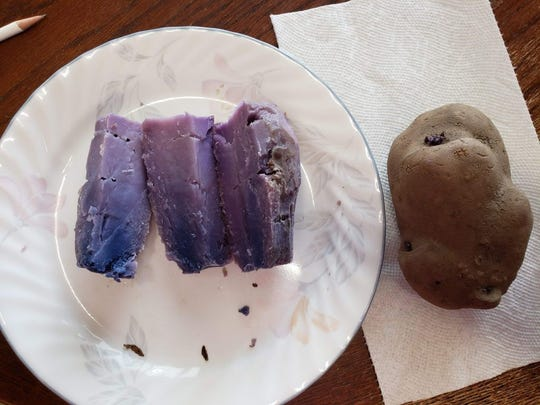 A purple potato, baked and unbaked.