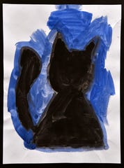 "Piper Bailey's ""Black Kitty"", from her 1st grade class at Thomas Elementary School, on display at the Grace Museum Feb. 28, 2020. Youth Art Month features hundreds of original art pieces by Big Country students."