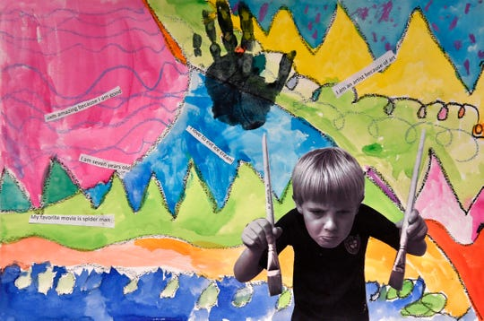 "St. John's first-grader Boone Bredemeyer'  ""I am an Artist"", at the Grace Museum's Youth Art Month show Feb. 28, 2020."