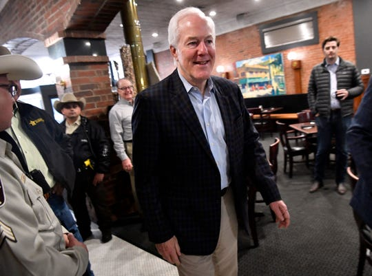 U.S. Senator John Cornyn arrives at Cypress Street Station for a Super Tuesday campaign event in Abilene March 3, 2020.