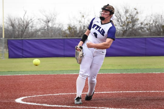 Wylie's Kaylee Philipp (3) lets go of a pitch against Odessa High early in the 2020 season. The rest of the year was canceled due to the coronavirus pandemic on April 17.
