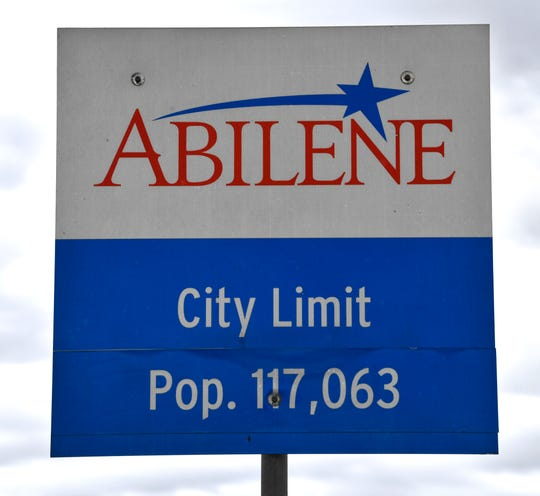 The city limits sign for Abilene on the eastbound side of Interstate 20 near Tye.