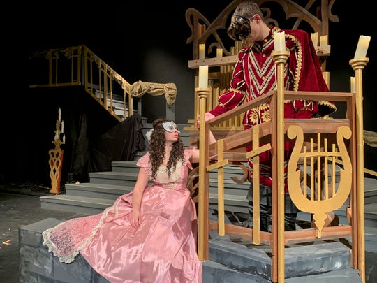 "Alexis Ceiri (Christine) and Jordan Hurlburt (Phantom) star in Johnson City High School's 2020 production of ""The Phantom of the Opera."""