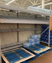 Empty shelves were observed Monday at the Walmart in Poulsbo.