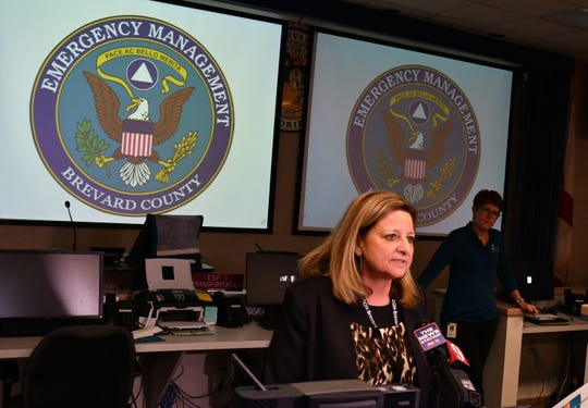 Maria Stahl, Brevard administrator of the Florida Department of Health, addresses the media March 4 during a briefing on the new coronavirus at the Emergency Operations Center in Rockledge.
