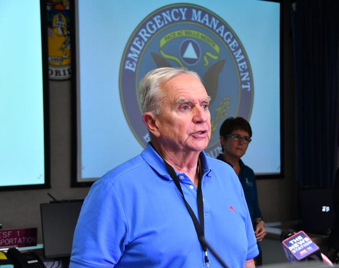 Barry Inman with the Florida Department of Health in Brevard discusses precautions in March, 2020. About 200 local government officials, emergency management, health and first responders met at the the Brevard County Emergency Management bunker on March 3, 2020 to discuss precautions and procedures for the Covid-19 virus.