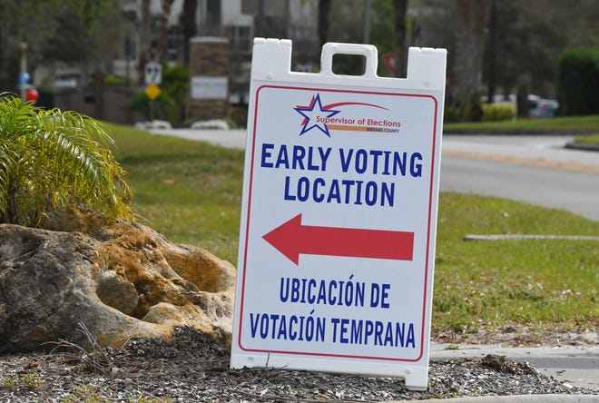 Voting at the Viera Regional Park Community Center. Monday was the first day in Brevard County for early voting for the Presidential primaries. There are ten locations set up for such voting.