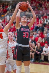 Buckeye Central's Lexi Evak is going to be a handful inside for McDonald.