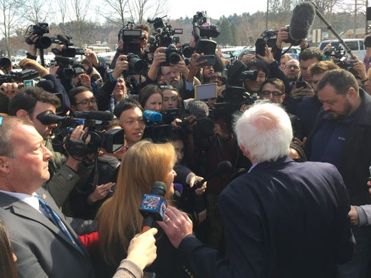 Sen. Bernie Sanders addresses the media after voting in Burlington on Super Tuesday, March 3, 2020.
