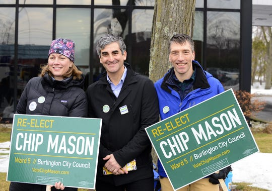 From left, Molly Gray, Democratic candiadte for lieutenant governor, Burlington Mayor Miro Weinberger and Burlington City Councilor Chip Mason, D-Ward 5, campaign outside the Burlington Ward 5 polling station at the Burlington Electric department on Tuesday morning, March 3, 2020.