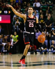 Mar 2, 2020; Waco, Texas, USA; Texas Tech Red Raiders guard Davide Moretti (25) calls out a play against the Baylor Bears during the first half at Ferrell Center. Mandatory Credit: Raymond Carlin III-USA TODAY Sports