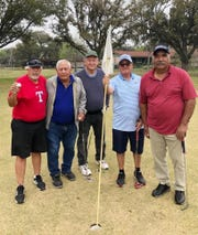 Ernie Rios, from left, Robert Gonzalez, Charles Randolph, Claudio Perez and Robert Martinez celebrate Rios' first hole-in-one on No. 13 on Tuesday at Alice Municipal Golf Course. Rios also aced No. 2.