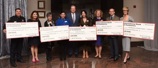 Representatives from Corpus Christi Police Foundation, Corpus Christi Literacy Council, Camp Aranzazu, Sinton for Youth, Inc. and The Art Museum of South Texas, were each presented with a $5,000 check from IBC Bank-Corpus Christi President Harold Shockley Jr. on Saturday.   From left: Officer James Lerma, Cissy Garcia, Laura Estrada, Dr. Criselda Leal, Harold Shockley, Jr., Lillian Anfosso, Elieen Troup, Richard Thomas and Sara Morgan.
