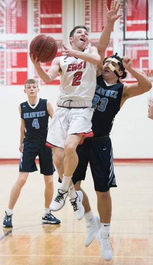 Cherry Hill East's Drew Greene puts up a shot during the South Jersey Group 4 first round boys basketball playoff game between Cherry Hill East and Shawnee played at Cherry Hill East High School on Tuesday, March 3, 2020.   Cherry Hill East defeated Shawnee, 47-29.