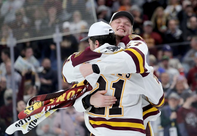 Noah Cates, No. 21, won it all as a freshman with University of Minnesota Duluth, last season. He and the Bulldogs are hoping for a repeat.