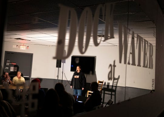 Lori Graves hosts an open mic night at the Dock at Water gathering place where she introduced some new and experienced comedians as well as trying out new jokes of her own.