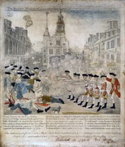 """An illustration of the Boston Massacre, March 5, 1770, titled """"The Bloody massacre,"""" engraved, printed and sold by Paul Revere."""