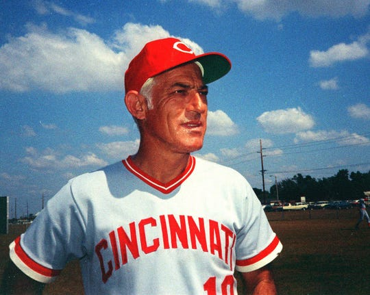 Text: FILE -- This is a 1974 photo showing Cincinnati Reds manager Sparky Anderson. Anderson, the only manager to win World Series titles in both leagues, was elected Tuesday Feb. 29, 2000 to the Hall of Fame.(AP Photo/File)