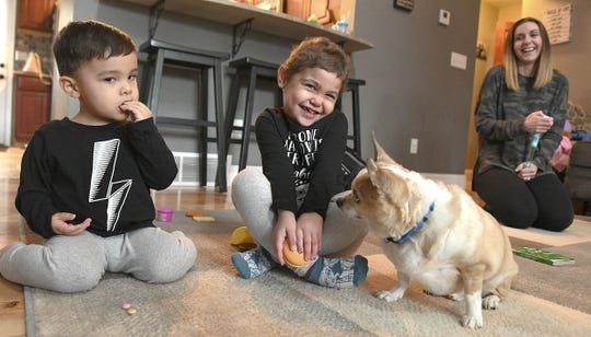 Alayna Numbers plays with her dog, Rico. The 4-year-old has regained much of her strength after a bone marrow transplant in September. The marrow came from her younger brother (left) Michael.