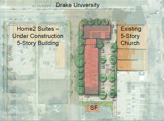 Nelson Development plans a 135-unit apartment and retail building across from Drake University, east of its Home2 Suites project under construction now.