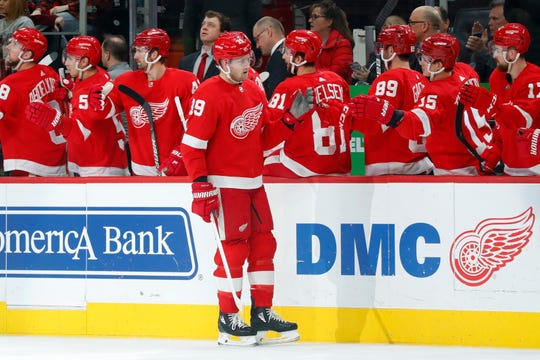 Detroit Red Wings right wing Anthony Mantha (39) celebrates his goal against the Colorado Avalanche in the first period of an NHL hockey game Monday, March 2, 2020, in Detroit. (AP Photo/Paul Sancya)