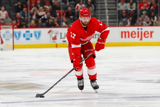 Detroit Red Wings defenseman Filip Hronek (17) plays against the Colorado Avalanche in the second period of an NHL hockey game Monday, March 2, 2020, in Detroit. (AP Photo/Paul Sancya)