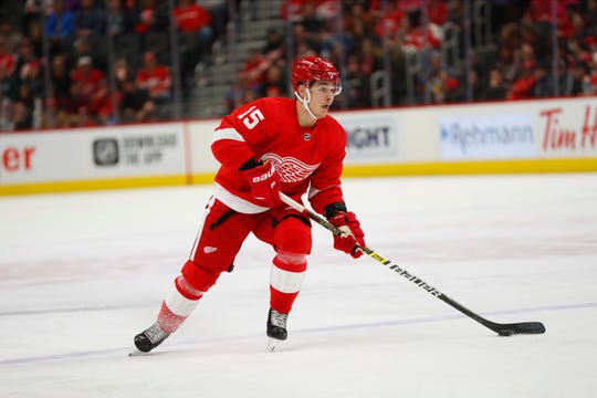 Detroit Red Wings left wing Dmytro Timashov (15) plays against the Colorado Avalanche in the second period of an NHL hockey game Monday, March 2, 2020, in Detroit. (AP Photo/Paul Sancya)