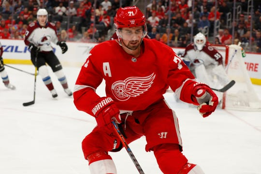 Detroit Red Wings center Dylan Larkin (71) plays against the Colorado Avalanche in the second period of an NHL hockey game Monday, March 2, 2020, in Detroit. (AP Photo/Paul Sancya)