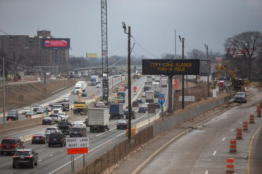 Traffic backs up on I-75 southbound near 9 Mile construction after weekend bridge removals Monday, March 2, 2020.