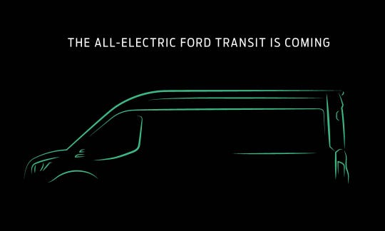 A teaser image of the electric Ford Transit.
