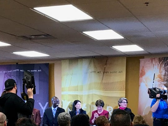 Lt. Gov. Garlin Gilchrist, Michigan Attorney General Dana Nessel, Detroit 2020 Census Executive Director Vicki Kovari and Michigan 2020 Census Executive Director Kerry Ebersole Singh speak during an event at Second Ebenezer Church.